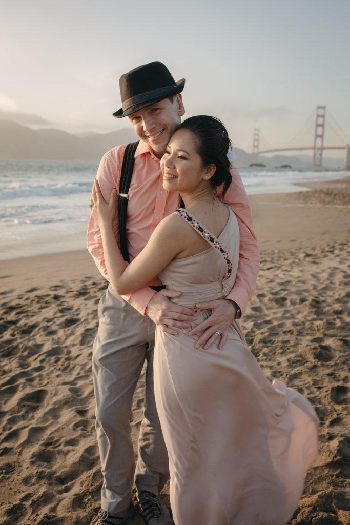 Engagement session couples Baker Beach San Francisco California
